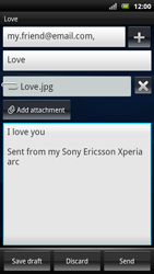 Sony Ericsson Xperia Arc S - Email - sending an email message - Step 13