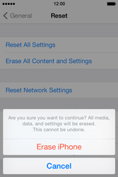 Apple iPhone 4 S iOS 7 - Device - Factory reset - Step 8