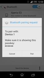 Sony D2203 Xperia E3 - WiFi and Bluetooth - Setup Blue Tooth Pairing - Step 7