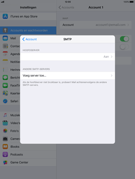 Apple iPad Air - iOS 11 - E-mail - Account instellen (IMAP met SMTP-verificatie) - Stap 19