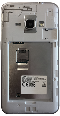 Samsung Galaxy J1 (2016) (J120) - Primeros pasos - Quitar y colocar la batería - Paso 3