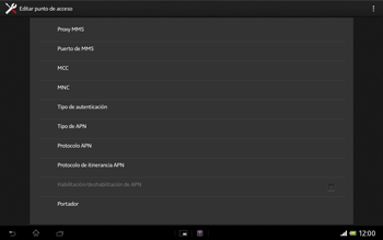 Sony Xperia Tablet Z - Mensajería - Configurar el equipo para mensajes multimedia - Paso 13