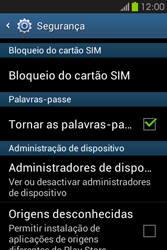 Samsung Galaxy Fame - Segurança - Como ativar o código PIN do cartão de telemóvel -  5