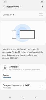 Samsung Galaxy A20 - Wi-Fi - Como usar seu aparelho como um roteador de rede wi-fi - Etapa 7