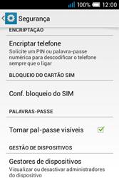 Alcatel POP C1 - Segurança - Como ativar o código PIN do cartão de telemóvel -  5