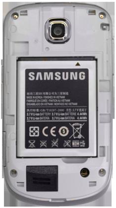 Samsung S5570 Galaxy Mini - Primeros pasos - Quitar y colocar la batería - Paso 4