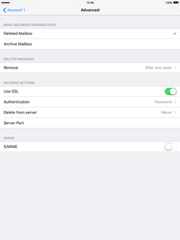 Apple iPad Air 2 iOS 9 - Email - Manual configuration - Step 21