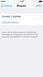 Apple iPhone iOS 7 - Chamadas - Como bloquear chamadas de um número específico - Etapa 9