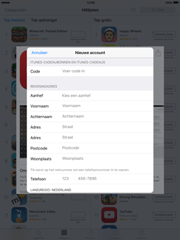 Apple iPad Air met iOS 9 (Model A1475) - Applicaties - Account aanmaken - Stap 19