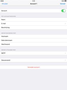 Apple iPad Air 2 iOS 9 - E-mail - Account instellen (POP3 met SMTP-verificatie) - Stap 16
