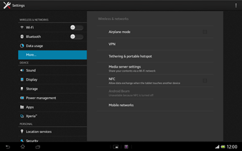 Sony SGP321 Xperia Tablet Z LTE - Internet - Enable or disable - Step 5