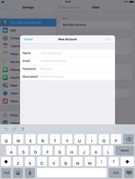Apple iPad Air - iOS 11 - Email - Manual configuration - Step 7