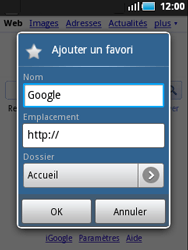 Samsung S5570 Galaxy Mini - Internet - Navigation sur Internet - Étape 5
