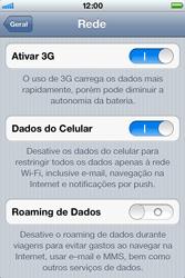 Apple iPhone iOS 5 - Rede móvel - Como ativar e desativar uma rede de dados - Etapa 5