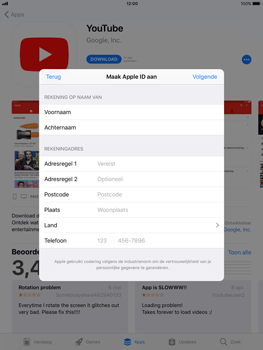 Apple iPad 9.7 - iOS 11 - Applicaties - Account aanmaken - Stap 17