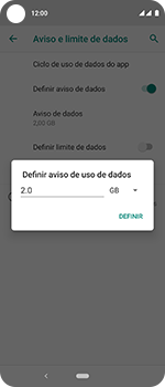 Motorola One Vision - Rede móvel - Como definir um aviso e limite de uso de dados - Etapa 10