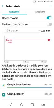 LG K12+ - Rede móvel - Como definir um aviso e limite de uso de dados - Etapa 8