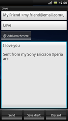 Sony Ericsson Xperia Arc - Email - Sending an email message - Step 8