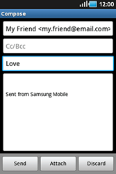 Samsung S5830 Galaxy Ace - Email - Sending an email message - Step 7