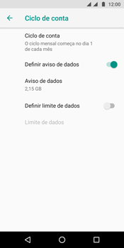 Motorola Moto G6 Plus - Rede móvel - Como definir um aviso e limite de uso de dados - Etapa 11