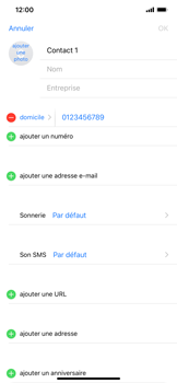 Apple iPhone XS Max - Contact, Appels, SMS/MMS - Ajouter un contact - Étape 9