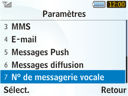 Samsung S3350 Chat 335 - Messagerie vocale - Configuration manuelle - Étape 5