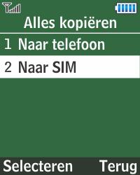 Samsung E1270 - Contacten en data - Contacten kopiëren van toestel naar SIM - Stap 6