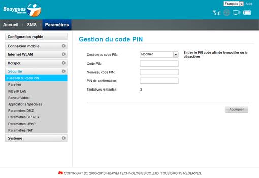 Huawei E5372 - Sécuriser votre mobile - Personnaliser le code PIN - Étape 8