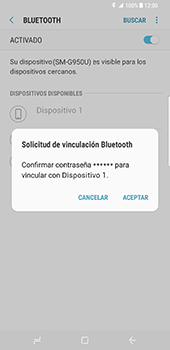 Samsung Galaxy S8 - Bluetooth - Conectar dispositivos a través de Bluetooth - Paso 8