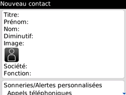 BlackBerry curve 3G - Contact, Appels, SMS/MMS - Ajouter un contact - Étape 5