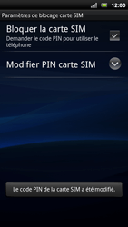 Sony Ericsson Xpéria Arc - Sécuriser votre mobile - Personnaliser le code PIN de votre carte SIM - Étape 10
