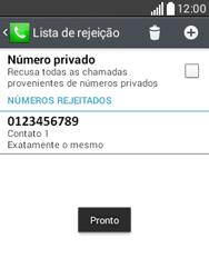 LG D100 L20 - Chamadas - Como bloquear chamadas de um número específico - Etapa 11