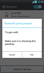 LG P700 Optimus L7 - Bluetooth - Pair with another device - Step 8