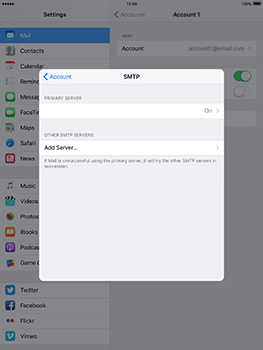 Apple iPad Air 2 iOS 10 - E-mail - Manual configuration IMAP without SMTP verification - Step 21