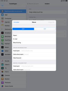 Apple ipad-pro-10-5-inch-ios-12 - E-mail - Account instellen (IMAP zonder SMTP-verificatie) - Stap 10