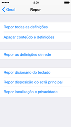 Apple iPhone 5s iOS 8 - Repor definições - Como repor definições de fábrica do telemóvel -  6
