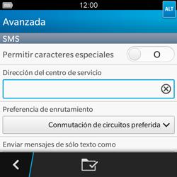 BlackBerry Q5 - Mensajería - Configurar el equipo para mensajes de texto - Paso 9