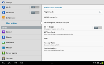 Samsung N8000 Galaxy Note 10-1 - Internet - Enable or disable - Step 5