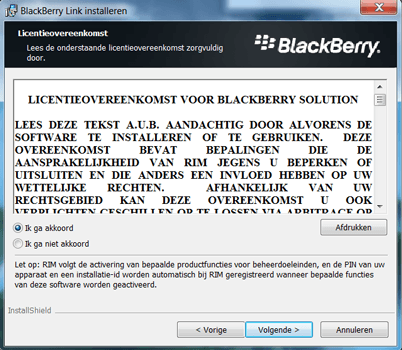 BlackBerry Leap - Software - Download en installeer PC synchronisatie software - Stap 6