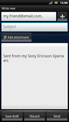 Sony Ericsson Xperia Arc S - Email - Sending an email message - Step 8