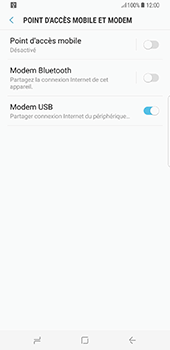 Samsung Galaxy S8+ - Internet et connexion - Utiliser le mode modem par USB - Étape 9