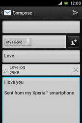 Sony ST23i Xperia Miro - Email - Sending an email message - Step 12
