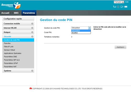 Huawei E5372 - Sécuriser votre mobile - Personnaliser le code PIN - Étape 6