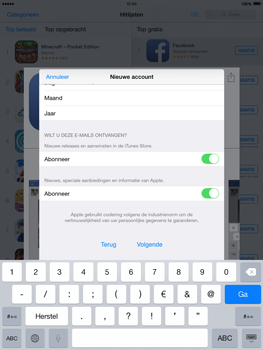 Apple The New iPad met iOS 8 - Applicaties - Account aanmaken - Stap 17