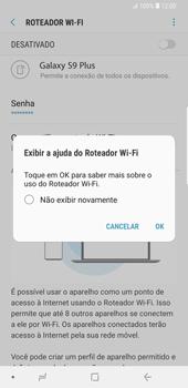 Samsung Galaxy S9 Plus - Wi-Fi - Como usar seu aparelho como um roteador de rede wi-fi - Etapa 13